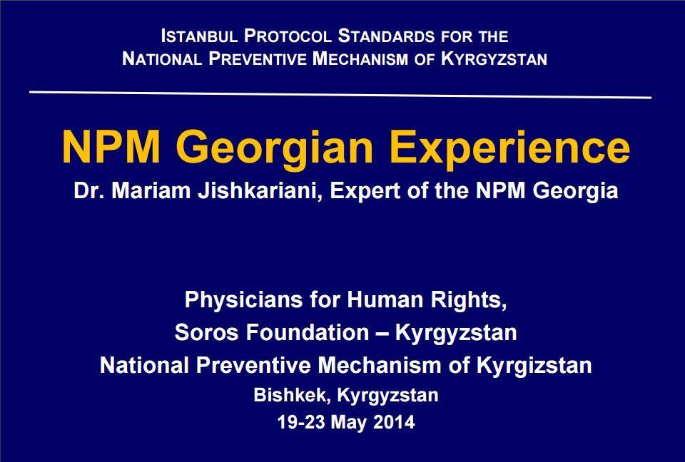 NPM Georgian Experience